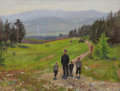 Fine Art - Painting, Russian, KUZMA VASILEVICH NICOLAEV (Russian, 1890-1972). Walk in theValley, circa 1950. Oil on canvas. 18 x 23-1/2 inches (45.7 ...