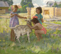 Fine Art - Painting, Russian:Contemporary (1950 to present), NIKOLAI ULYANOV (1922-1990). Girls with Goat, 1964. Oil oncanvas. 31 x 35 inches (78.7 x 88.9 cm). Signed and dated low...