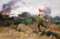 Fine Art - Painting, Russian:Contemporary (1950 to present), FEDOR IVANOVICH DERYAZHNYI (Ukrainian, b. 1914). Defeat of theFascist Troops, 1966. Oil on canvas. 39 x 58-1/4 inches (...