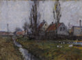 Fine Art - Painting, European:Antique  (Pre 1900), VIGGO JOHANSEN (Danish, 1851-1935). Village by the Stream,1889. Oil on canvas. 8-1/2 x 12-1/4 inches (21.6 x 31.1 cm). ...