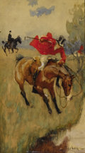Fine Art - Painting, American:Modern  (1900 1949)  , EDMUND CHARLES TARBELL (American, 1862-1938). Fox Hunt -Halt!. Watercolor on cardboard. 8-5/8 x 4-3/4 inches (22 x 12c...