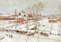 Fine Art - Painting, Russian:Modern (1900-1949), KONSTANTIN FEDOROVICH IUON (Russian, 1875-1958). Winter .Oil on cardboard. 14 x 20 inches (35.6 x 50.8 cm). Signed lowe...