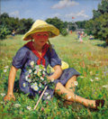 Paintings, GLEB BARABANSHCHIKOV (Russian, 1910-1977). Picking Flowers, 1945. Oil on canvas. 39 x 35 inches (99.1 x 88.9 cm). Signed...