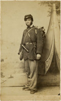 Photography:CDVs, CDV Union Civil War Infantry Enlisted Man with Canteen, Revolver, & Knapsack. Union soldier posing in C. Evans studio Philad...