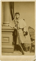Military & Patriotic:Civil War, CDV Union Civil War Enlisted Man with Rifled Musket. Union soldier posing for his photograph in F. Gutekunst studio in Phila...