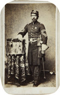 Military & Patriotic:Civil War, CDV Union Civil War Drum Major. Unknown soldier posing with his set of drums in photographer's studio. Great image of infant...