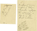 Autographs:U.S. Presidents, Franklin D. Roosevelt: Autograph Memo as President to FrancisPerkins Regarding Social Security.. -February 27, 1935. [Washi...(Total: 2 Items)