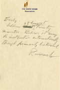 "Autographs:U.S. Presidents, Franklin D. Roosevelt: Autograph Note Signed ""Roosevelt"" asPresident Regarding Banquet Address.. -No date. Wash..."
