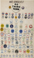 """Political:Pinback Buttons (1896-present), Anti-Franklin D. Roosevelt: A Great Collection of 98 Different, Sizes Ranging From 7/8"""" To 3½"""".... (Total: 98 Items)"""