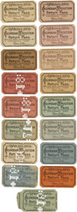 General Historic Events:World Fairs, World's Columbian Exposition: Group of Seventeen Return Passes,... (Total: 17 Items)