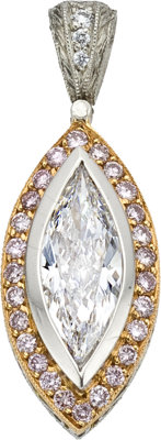 Diamond, Colored Diamond, Gold, Platinum Pendant, Michael Beaudry