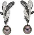 Estate Jewelry:Earrings, Black South Sea Cultured Pearl, Black & White Diamond, White Gold Earrings. ...