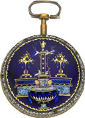 Timepieces:Pocket (pre 1900) , Valere Paris Enamel & Gilt Verge, circa 1790. ...