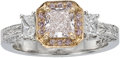 Estate Jewelry:Rings, Fancy Light Pink Diamond, Diamond, Platinum, Gold Ring, Gregg Ruth....