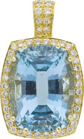 Estate Jewelry:Pendants and Lockets, Aquamarine, Diamond, Gold Enhancer. ...