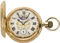 Timepieces:Pocket (pre 1900) , Swiss Gold Double Dial Moon Phase & Calendar, circa 1890. ...