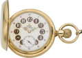 Timepieces:Pocket (pre 1900) , Elgin Rare Fancy Dial Convertible in Gold Hunters Case Consistingof Five Lids, circa 1887. ...