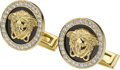 Estate Jewelry:Cufflinks, Diamond, Black Onyx, Enamel, Gold Cuff Links, Versace. ...