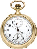 Timepieces:Pocket (post 1900), Swiss Gold Minute Repeating Split Second Chronograph with Register, circa 1900. ...