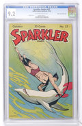 Golden Age (1938-1955):Miscellaneous, Sparkler Comics #37 Mile High pedigree (United Features Syndicate, 1944) CGC NM- 9.2 Off-white to white pages....