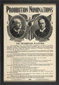 Political:3D & Other Display (1896-present), Chafin & Watkins: A Scarce Jugate Poster for the 1908Prohibition Party Ticket.. In great condition, and early jugateposter...