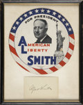"Autographs:Statesmen, Al Smith: Signed Card and 9.5"" Round Political Sign...."