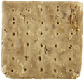 """Military & Patriotic:Civil War, Huge 4½"""" Square Piece of Civil War Hardtack. One of the largest we've seen and a size noted in a number of period photograph..."""