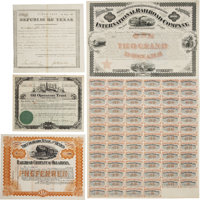 Texas Ephemera: A Collection of Fourteen Different Colorful Early Stocks and Bonds for Texas Companies. The earliest