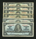 Canadian Currency: , Bilingual Canadian Notes.. ... (Total: 6 notes)
