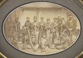 "Military & Patriotic:Civil War, Great 7"" x 5"" Albumen View of a Group of Federal Infantrymen, clearly battle-hardened. All appear to be wearing four button ..."