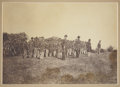 "Military & Patriotic:Civil War, Albumen View, 8"" x 6"", of a Company of Federal Infantrymen in Formation in the Field. EM in three ranks with a mix of four b..."