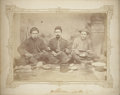 """Military & Patriotic:Civil War, Albumen View, 7½"""" x 5½"""", of Three Civil War Soldiers with Mess Gear. Soldiers wearing a mix of uniforms and headgear, includ..."""