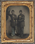 Military & Patriotic:Civil War, Great Quarter Plate Tintype Portrait of Two Federal Infantrymen....