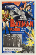 "Movie Posters:Serial, The New Adventures of Batman and Robin (Columbia, 1949). One Sheet(27"" X 41"") Chapter 14 -- "" Batman vs. the Wizard.""..."