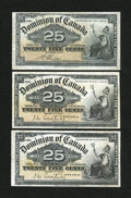 Canadian Currency: , Three 25¢ Notes.. ... (Total: 3 notes)