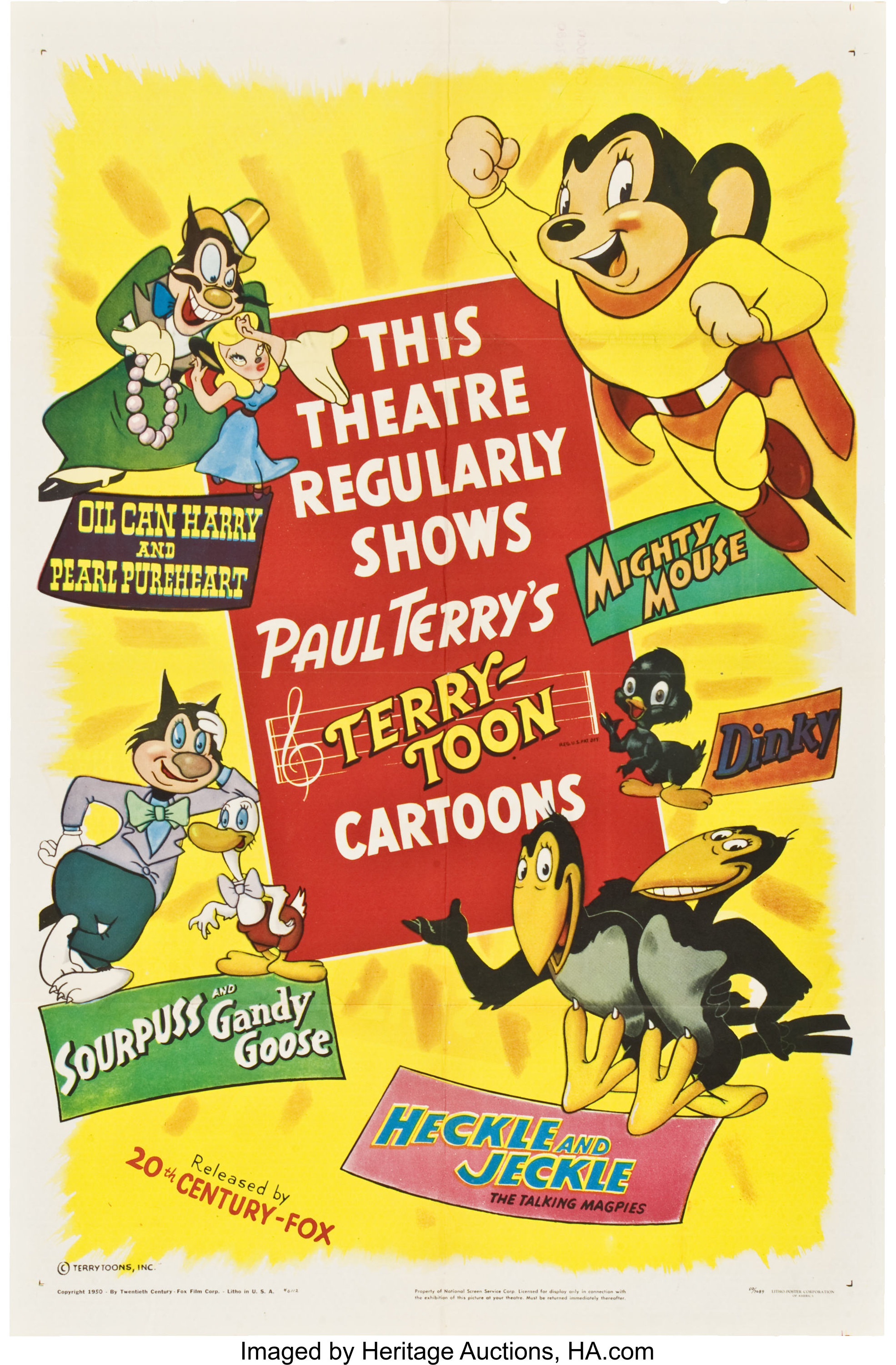 Terry Toons Cartoon Stock 20th Century Fox 1950 One Sheet 27 Lot 85741 Heritage Auctions