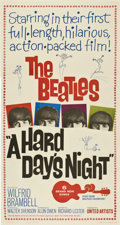 "Movie Posters:Rock and Roll, A Hard Day's Night (United Artists, 1964). Three Sheet (41"" X81"")...."