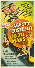 "Movie Posters:Comedy, Abbott and Costello Go to Mars (Universal International, 1953).Three Sheet (41"" X 81"")...."