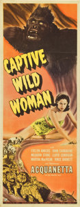 "Movie Posters:Horror, Captive Wild Woman (Universal, 1943). Insert (14"" X 36"")...."