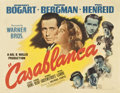 "Movie Posters:Drama, Casablanca (Warner Brothers, 1942). Half Sheet (22"" X 28"") StyleB...."