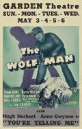 "Movie Posters:Horror, The Wolf Man (Universal, 1941). Window Card (14"" X 22"")...."