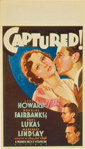 "Movie Posters:Drama, Captured! (Warner Brothers, 1933). Midget Window Card (8"" X14"")...."