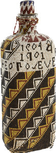 Political:3D & Other Display (1896-present), Theodore Roosevelt: A Most Unusual Large American Indian Beaded Bottle Honoring the President....
