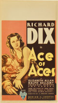 "Movie Posters:War, Ace of Aces (RKO, 1933). Midget Window Card (8"" X 14"")...."