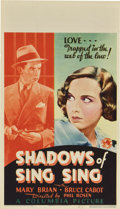 "Movie Posters:Drama, Shadows of Sing Sing (Columbia, 1933). Midget Window Card (8"" X14"")...."