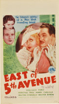 "Movie Posters:Drama, East of 5th Avenue (Columbia, 1933). Midget Window Card (8"" X14"")...."