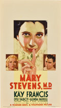 "Movie Posters:Drama, Mary Stevens, M.D. (Warner Brothers, 1933). Midget Window Card (8""X 14"")...."