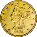 Liberty Eagles: , 1865-S $10 AU58 NGC. This example is the Normal Date variety forthe year, which is slightly rarer than the Blundered Date ...