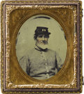 """Military & Patriotic:Civil War, Identified 1/6th Plate Ambrotype South Carolina """"Palmetto Regiment"""". An exceptional hand-tinted portrait (image reversed) id..."""