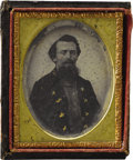 Military & Patriotic:Civil War, 1/9th Plate Ambrotype of an Unidentified Confederate Officer. An interesting image of a uniformed and seated Confederate off...